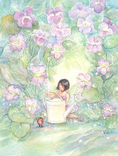 Enchanted Gardens, Violets, Orig Watercolor Becky Kelly