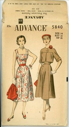 1950s Sundress & Cropped Jacket Pattern Advance by CynicalGirl