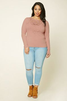 Forever 21+ - A knit top featuring crochet lace front, round neckline, long sleeves, and a self-tie scoop back.