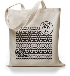 Kane Grey | Good Vibes - Jutebeutel | online kaufen!   #superfresh #kanegrey #goodvibes #summercollection #totebag #palmtree #waves