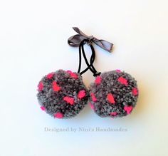 2 Charcoal and Neon Fuchsia Dots  Pom Pom Ponytail Holder