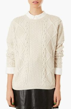Topshop Cable Knit Boxy Sweater available at #Nordstrom