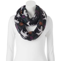 Ghost Infinity Scarf (62 BRL) ❤ liked on Polyvore featuring accessories, scarves, black, circle scarf, tube scarf, circle scarves, tube scarves and round scarves