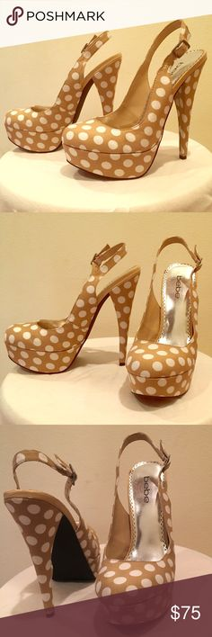 bebe polka dot sling back pumps bebe sling-back style pumps. Beige/tan with white polka dots. Excellent/like new condition. Perfect for spring 🌸 bebe Shoes