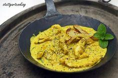 stuttgartcooking: Puten-Geschnetzeltes mit heimischer Birne, Curry, Ingwer und frischer Minze