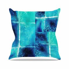 KESS InHouse NM1071AOP03 18 x 18-Inch 'Nina May Saltwater Study Teal Blue' Outdoor Throw Cushion - Multi-Colour