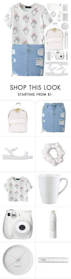 """""""RKY #84"""" by rkingy ❤ liked on Polyvore featuring Moschino, Ancient Greek Sandals, American Apparel, Pillivuyt, Black Apple, Fujifilm, Chanel, Georg Jensen, Forever New and white"""