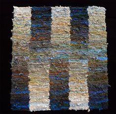 Blue and Beige Blended stripes rag (sold), made in the same colorway as a… Weaving Textiles, Tapestry Weaving, Textile Fiber Art, Textile Artists, Art From Recycled Materials, Art Shed, Weaving Techniques, Handmade Rugs, Handmade Crafts