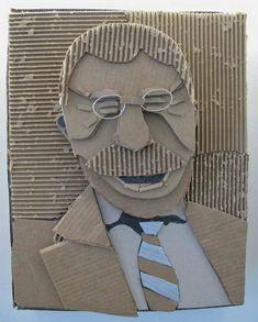 The Visual Arts at Germantown Academy: Cardboard Relief Portraits Cardboard Relief, Cardboard Mask, Cardboard Sculpture, Cardboard Crafts, Club D'art, Art Club, Relief En Carton, Diy Art Projects Canvas, Classe D'art
