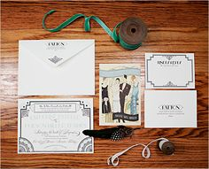 Great Gatsby Wedding Inspiration featured on One Hitched Lane. Planning & Vintage Decor by A Vintage Affair Events & Rentals. Photography by Tess Pace. Invites by Lucky Luxe. The Great Gatsby, Great Gatsby Wedding, 1920s Wedding, Art Deco Wedding, Wedding Paper, Dream Wedding, Wedding Stationery, Wedding Invitations, Victoria Wedding