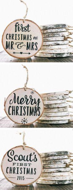 Rustic Birch Wood Ornaments ❤︎ #homemade #christmas #gift