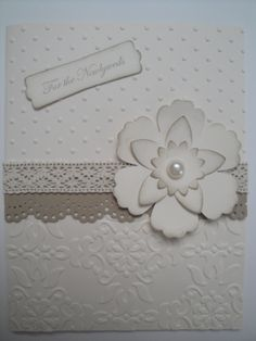Elegant Wedding Card Kit 4 Cards Stampin Up Vintage Wallpaper | eBay - Love the two different embossing folders used on one card