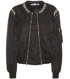 ¡Cómpralo ya!. Crystal-embellished bomber jacket. Black crystal-embellished bomber jacket by Givenchy , chaquetabomber, bómber, bombers, bomberjacke, chamarrabomber, vestebomber, giubbottobombber, bomber. Chaqueta bomber  de mujer color negro de Givenchy.