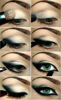 make-up trends smokey eyes unwiderstehlich schminken Eye Makeup Steps, Cat Eye Makeup, Smokey Eye Makeup, Skin Makeup, Smoky Eye, Eyeshadow Makeup, Makeup Contouring, Green Eyeshadow, Makeup Drop