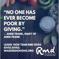 """No one has ever become poor by giving."" Truer words have never been spoken. To Team RMD, giving is a part of our DNA. This mighty team started and continues to fuel Wagons Ho Ho Ho ... a mighty charity that feeds and gifts a red wagon to thousands of children each year. More importantly, we deliver HOPE. Please consider making your #TaxDeductible contribution today. 100% of all proceeds go to the families we serve. #MerryChristmas! ...#rmdadvertising #foodmarketingagency #agencylife Red Wagon, True Words, Giving, Dna, Charity, Families, Make It Yourself, Thoughts, Children"