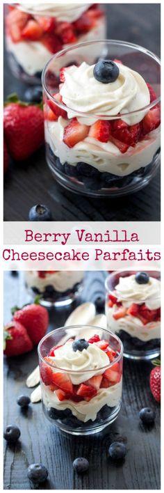 Berry Vanilla Cheesecake Parfaits | My favorite lightened up, no-bake cheesecake dessert to make in the summer!