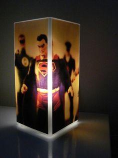 Glass Polaroid Photo Table Lamp - Superheroes - Unique Housewarming Gift, Home Decor, Man Cave, Nursery ($45.00) - Svpply