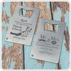 Engraved Credit Card Bottle Opener Wedding Favour| Personalised Favours