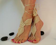 Crochet Tan Barefoot Sandles, Foot jewelry, Wedding, Crochet Sandals, Kenmare Lace, Beige, GIFT WRAPPED. $15.00, via Etsy.