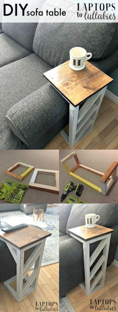 Teds Wood Working - DIY Life Hacks Crafts : Laptops to Lullabies: Easy DIY sofa . - - Teds Wood Working – DIY Life Hacks Crafts : Laptops to Lullabies: Easy DIY sofa tables – Get A Lifetime Of Project Ideas & Inspiration! Diy Sofa Table, Sofa Tables, Armchair Table, Sofa Chair, Wood Table, Sofa Side Table, Bedside Table Ideas Diy, Wood Desk, Pallet Side Table