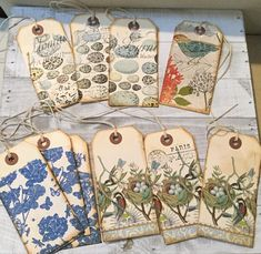 Featured for your interest are 10 tags for junk journals or gifts. I decoupaged napkins on each one.