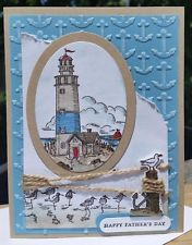 FATHER'S DAY/BIRTHDAY CARD KIT SET OF 4 STAMPIN UP HANDMADE  LIGHTHOUSE WETLANDS