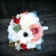 Silk Wedding Bouquet with Cream Roses Red Tulips by fleurdunord, Rustic Red Wedding, Floral Wedding, Wedding Stuff, Wedding Ideas, White Anemone, Silk Wedding Bouquets, Bouquet Toss, Dusty Miller, Anemones