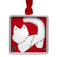 This playful cat ornament by SPKCreative Stationery and Gifts is purrfect for a modern Christmas tree trimming party.