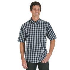 Wrangler Men's Short Sleeve Woven Plaid Shirt (Size: Medium) Black