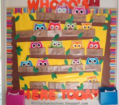 little illuminations: Signing In and Out in Pre-K Preschool Attendance Chart, Classroom Attendance, Preschool Names, Preschool Projects, Preschool Sign In, Preschool Lessons, Preschool Ideas, Owl Classroom Decor, Kindergarten Classroom