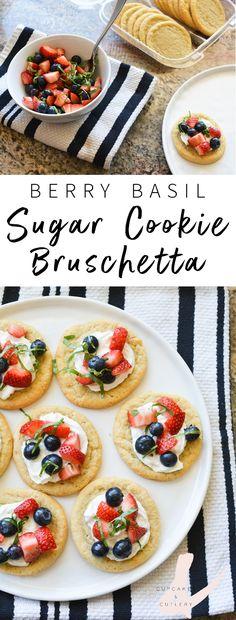berry and basil dessert bruschetta