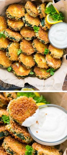 Crisp Zucchini Bites with Garlic Aioli Dip - Yes please!!