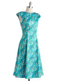 The Wheel Deal Dress. Theres no need to put up a fun facade or feign a fabulous personality when these qualities already exist within you! #blue #modcloth