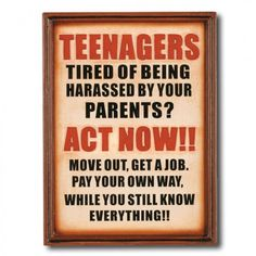 "RAM Gameroom ""Note To Your Teenagers"" Outdoor Sign - ODR821"