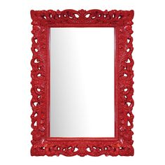Wall+mirror+with+a+scrolling+red+frame.++ Product:+Wall+mirrorConstruction+Material:+Resin+and+mirrored+glass