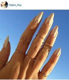 Nails, nail art, pointed nails, nude