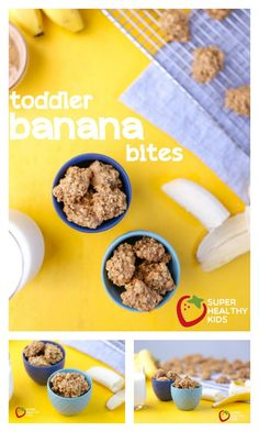 Toddler Recipe: Banana Bites - Healthy finger food, for toddlers! http://www.superhealthykids.com/banana-cookies/