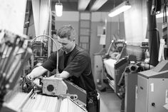 Loom Master at work at the weaving mill in Lapua Weaving Techniques, Loom, Design, Loom Weaving, Design Comics, Weaving