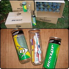 Use a tennis ball can to hold a hygiene kit for your shoebox.