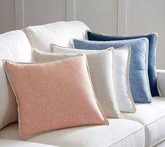 Belgian Linen Contrast Pillow Cover #potterybarn