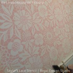Cute Girly Painted Wall with Sweet Skylars Lace Floral Stencils and Patterns - Royal Design Studio