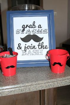 The buckets had all the stick on mustaches for everyone to put on. #mustache #party