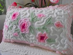 Gorgeous Vintage Chenille Patchwork Pillow Pink by thepinkpalace