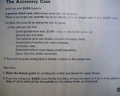 Instructions Manual Elna Lotus Sewing Machine