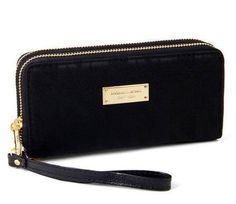 Michael Kors Double Zip Canvas Wallet Black