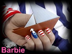 Sailor Nails - Nail design inspired by the sailor concept, using a 3D anchor symbol and patterns, colors of sailors.