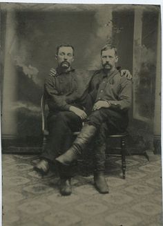 1860-s-TINTYPE-TWO-SOLDIERS-SITTING-TOGETHER-IN-GAY-LIKE-POSE