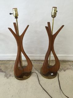 Pair of Vintage Wood Table Lamps by SoAkiba on Etsy