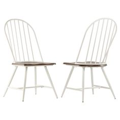 Set of 4 Juniper Lane Mixed Media Windsor Dining Chair Metal/White/Dark Oak - Inspire Q Windsor Dining Chairs, Wooden Dining Chairs, White Dining Chairs, Metal Chairs, Dining Chair Set, Dining Room Chairs, Side Chairs, Furniture Legs, Dining Furniture