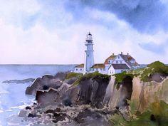 Portland Head Lighthouse . James Mann       Watercolor